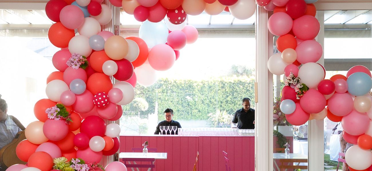Pink Bar entrance balloon garland