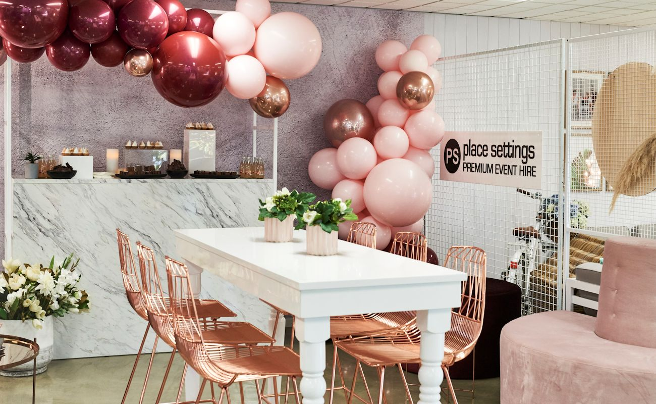 pink place setting showroom